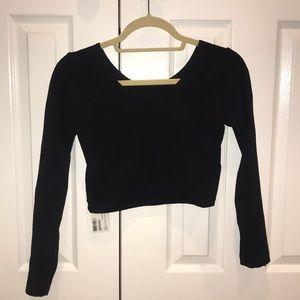 Cotton Spandex Jersey Crop Top (Black)